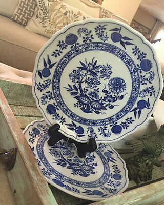 Set of 4 Hutschenreuther Germany Blue Onion Salad Desert Plate Scalloped