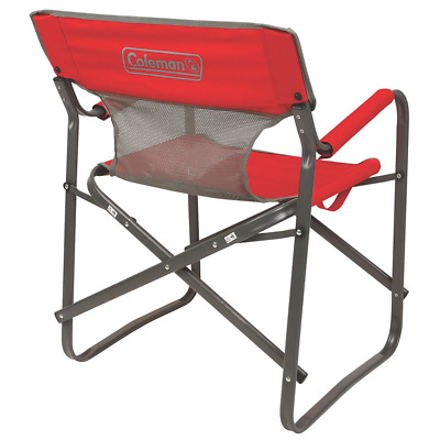 Outdoor Heavy Duty Folding Chair Camping Portable Strong Steel Frame Mesh  Back