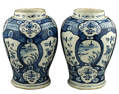 Beautiful Pair of 17th / 18th C Delft Vases w/ Chinoiserie