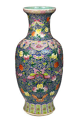 Large Antique Chinese Famille Rose Porcelain Vase w/ Fruit & Butterflies
