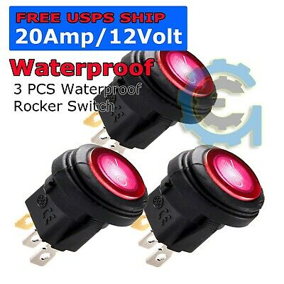 5X 12V 20A Waterproof Round On/Off Rocker Switch Car Auto Boat SPST Marine Red