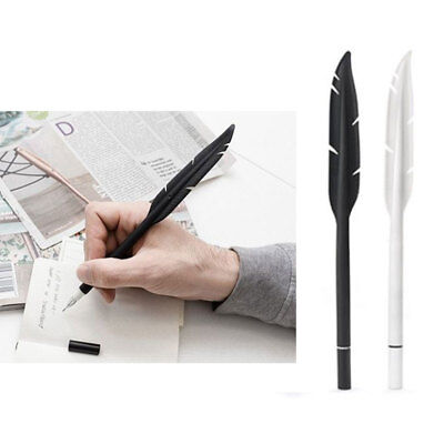 2 Kikkerland Feather Gel Pen Ink Silicone Rubber White Black School Office Gift