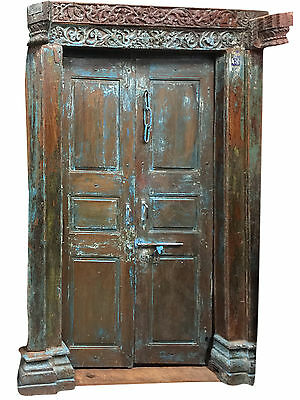 Antique OM Doors Blue Patina Teak Doors & Frame Meditation Zen Yoga Architecture