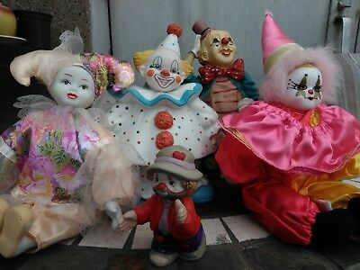 Vintage Lot of 4 *READ DESCRIPTION*Ceramic Porcelain Clown Creepy Cute Dolls L34