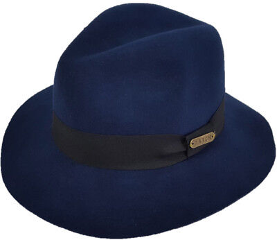 73427a3c153c9 Mens Womens Fall Winter 100% Wool Felt Floppy Wide Brim Fedora Trilby Hat  Navy