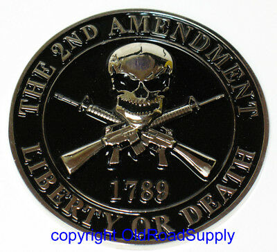 "2nd Amendment Liberty or Death Emblem Car Auto Truck Grille Badge 3"" - NEW"