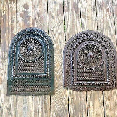 "Antique Cast Iron Arch Top Dome scroll cut surround insert pair Vintage 24"" pair"