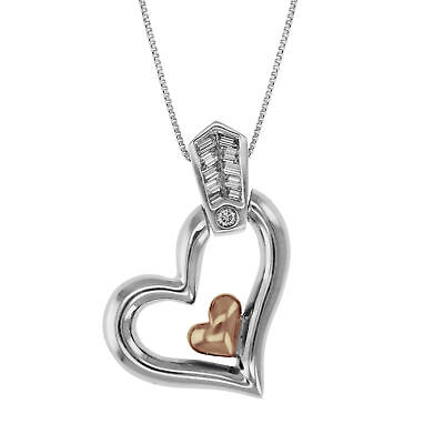 0.15 CT Diamond Heart Pendant in 14K White and Rose Gold with 18 Inch Chain