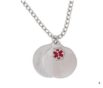 "Hadley Roma Medical Alert Stainless Steel Disc Pendant 26"" Chain - Engraveable"