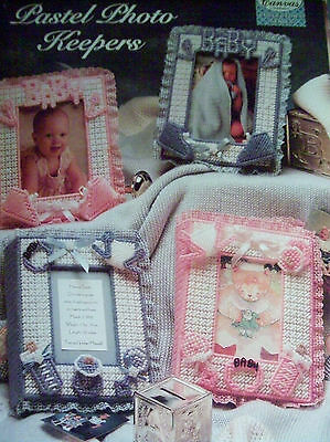PLASTIC CANVAS PATTERN  ~  pastel photo keepers , BOY GIRL PINK BLUE BABY