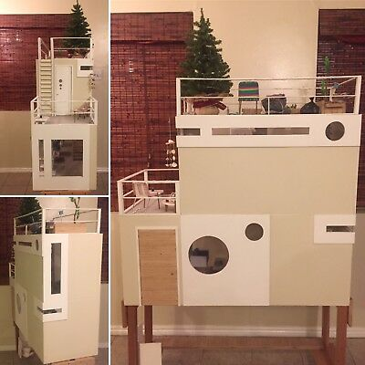 Modern beach doll house Diorama 1/6 Scale Artist Made Ooak
