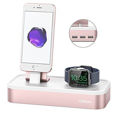 Apple Watch Series 3 Stand 5 Port USB Rechargeable Stand for iWatch iPhone Rose