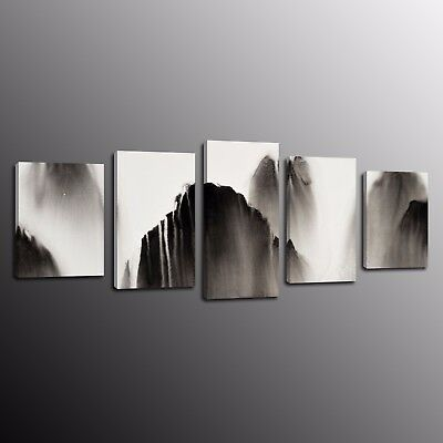 Modern Canvas Print Abstract Ink mountain Oil Painting Wall Art Home Decor 5pcs
