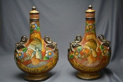 Antique Italy Terracotta Wine Decanter's Painted Figures Roman Soldiers Pottery