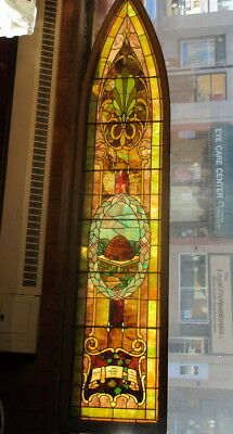 Antique Rare Beautiful Beehive Church Stained Glass Window 1900 Large 2'x11' VGC