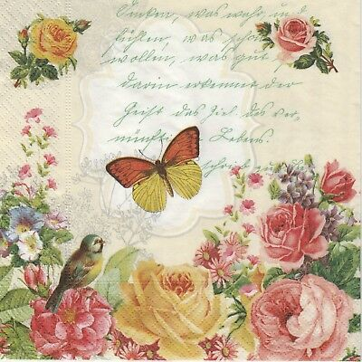 4x Paper Napkins for Decoupage Decopatch Craft Portrait of Butterfly