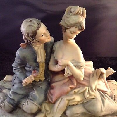 "Capodimonte Figurine The Lovers Signed by Bruno Merli Wood Base 15"" Unique Rare"