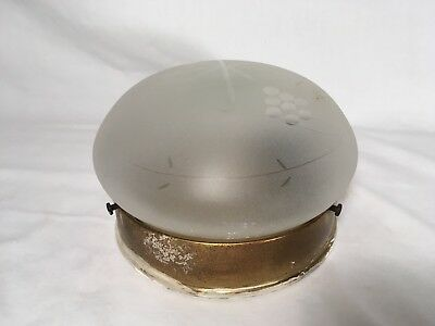 Vintage Mid Century Kitchen Ceiling Light Fixture Bathroom Hallway Flush Etched