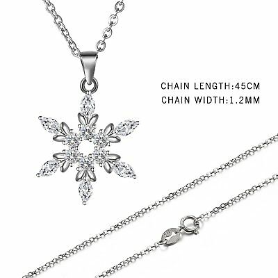Women's 925 Sterling Silver Cubic Zirconia Snowflake Pendant Necklace Xmas Gift