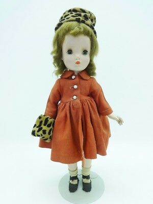 "Vintage 1950's  Madame Alexander 14"" Binnie Walker Doll Red Coat Leopard Hat"
