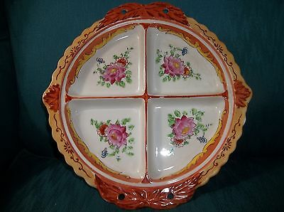 Vintage Made in Japan Divided Plate with Holes For Wicker or Bamboo Handle