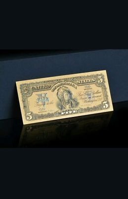 ☆AMAZING DETAIL☆ 《1899 SILVER CERTIFICATE》 INDIAN CHIEF  $5 Rep.*Banknote u