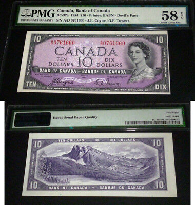 World Famous - Devils Face 1954  Bank Of Canada $10  Almost Uncirculated