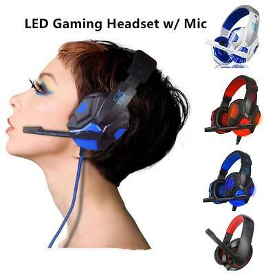 3.5mm LED USB Gaming Headset Surround Stereo Gamer Headphone w/Mic For PC Tablet