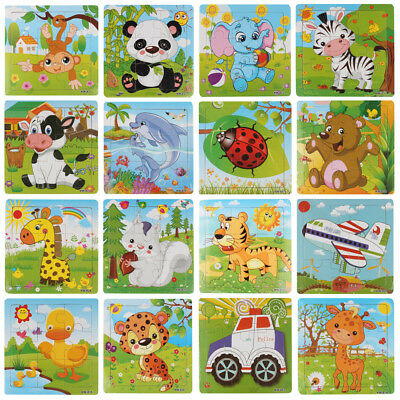 9PCS/Set Wooden Animals Jigsaw Toys Kids Education & Learning Puzzles Toys Gift