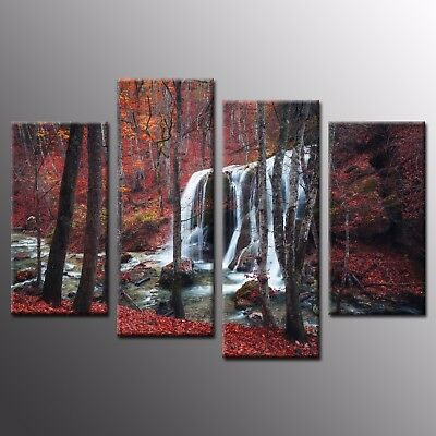 Wall Art Canvas Painting Red Waterfall Photo Landscape Canvas Print 4 Pieces