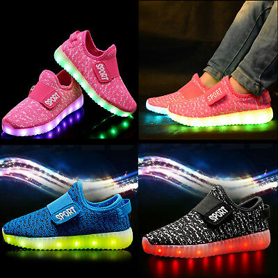 LED Trainers Shoes Boys Girls Light Up USB Charger Luminous Kids Casual Sneakers