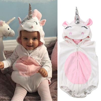 Costume Newborn Baby Girls Unicorn Romper Fleece Jumpsuit Jumper Hooded Outfits