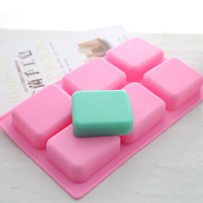 Pink Rectangle Fillet Soap Cake Mold Silicone for Homemade Craft Making 6-Cavity