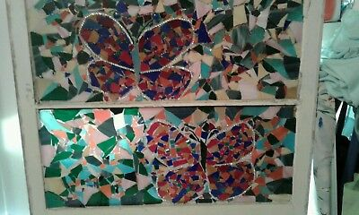 Vintage Abstract Butterfly Themed Stained Glass Window
