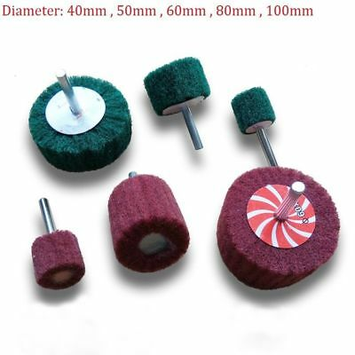40mm-100mm Flap Wheel Nylon Abrasive Scotchbrite Sanding Mop 6mm Shank For Drill