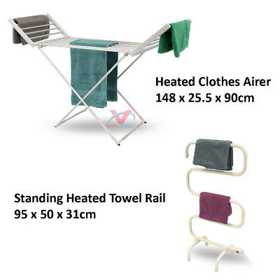 Heated Clothes Airer Dryer Towel Rail Indoor Rack Laundry Folding Washing