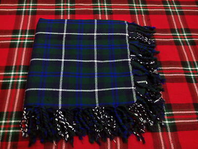 Tartan Scottish Purled Fringe Budget Piper Fly Plaid Kilt Blue Douglas Fly Plaid