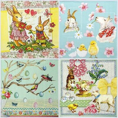 4x Paper Napkins for Decoupage Decopatch Craft Easter Blue Mix