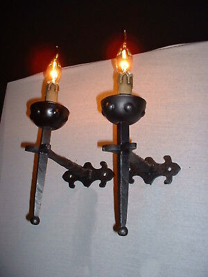 Vintage French black wrought iron sconces twisted arm 4 pairs available