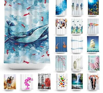 "Quality Extra Long Fabric Shower Curtains, 180 Wide by 200CM Drop (W71"" x D78"")"