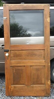Antique Vintage 3 Panel Wood Door with Glass Local Pickup Only 17236