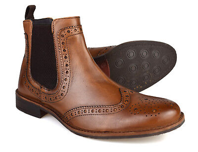 a80b2f559d8549 Silver Street Byron Tan Leather Brogue Mens Chelsea Boots RRP £70 Free UK  P&P!