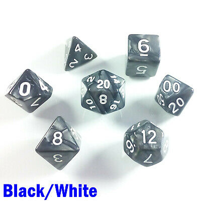 HD Giant Pearl Poly 7 Dice RPG Set Black White Pathfinder D/&D Dungeons Dragons