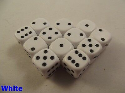 Opaque Dice Dotted 12 x 12mm D6 White Board Game Warhammer War Gaming Necromunda