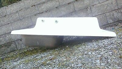 Antique Small Cast Iron Porcelain Right Hand Farmhouse Drainboard Kitchen Sink