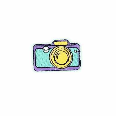 Retro Pop Art Camera (Iron On) Embroidery Applique Patch Sew Iron Badge