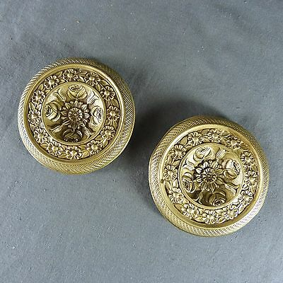 Pair of French Antique Golden Bronze Plaque Finials or Cover Nails 19th century