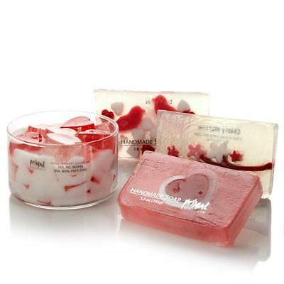 Primal Elements Heart Candle & Cherry Scented Soaps Gift Set Valentines Day