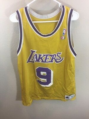 pretty nice 3f243 4c9c8 mens los angeles lakers 9 nick van exel yellow hardwood ...