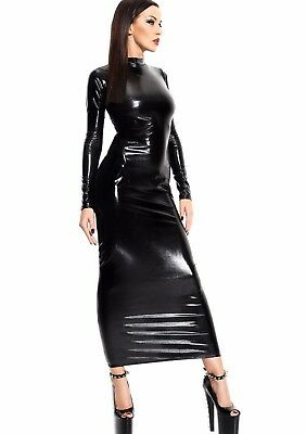 Hot Sexy Lack Kunstleder Kleid ★SCHWARZ★ Abendkleid Clubwear Table Dance Bondage
